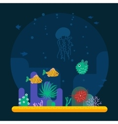 Underwater background with various water plant and vector image vector image