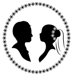 wedding silhouette 3 vector image vector image