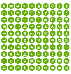 100 nursery school icons hexagon green vector