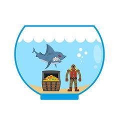 Mini shark in aquarium and treasure chest scuba vector