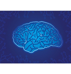 Blue Technology Brain vector image