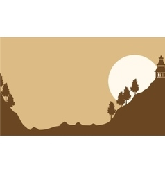 Silhouette of pavilion with moon landscape vector