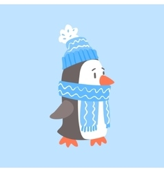 Penguin in blue scarf and hat arctic animal vector