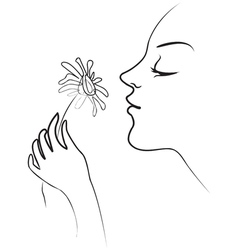 The girl holds in her hand tenderly daisy smelling vector