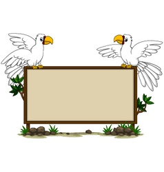 Parrot sitting on blank board vector