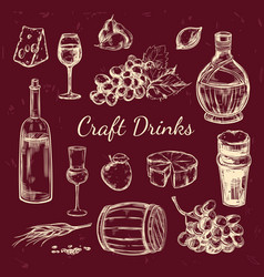 traditional wine hand drawn elements set vector image