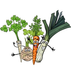 Soup vegetables group cartoon vector