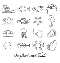 seafood and fish food set of simple outline icons vector image