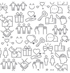 Line style icons seamless pattern relationship vector