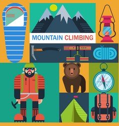 mountaineering icons vector image