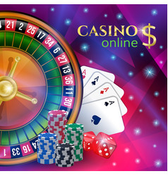 Casino banner with gambling elements vector