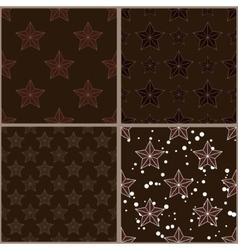 Set of brown star patterns vector image