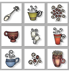 Set of ornamental coffee cups with long shadow vector