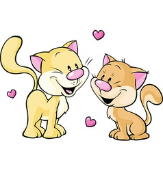 Cute kitty in love isolated on white background vector
