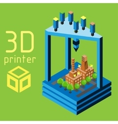 3d printer flat style on colored background vector image