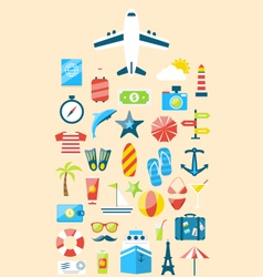 Flat modern design set icons of travel on holiday vector