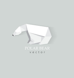 3d origami low polygon polar bear vector