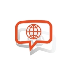 Global network message sticker orange vector
