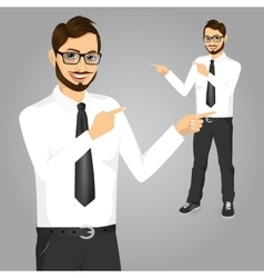 hipster businessman pointing something vector image