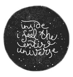 Unique hand drawn text on the universe background vector