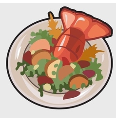 Boiled lobster on a plate vector