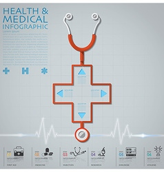 Cross shape stethoscope health and medical vector
