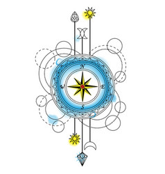 Abstract compass tattoo vector