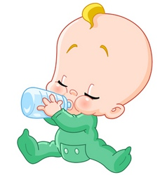 Baby with bottle vector