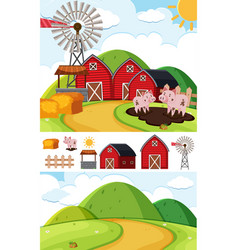 Background scenes with pigs in mud vector