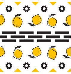 black and white lemon mediterranean seamless tile vector image