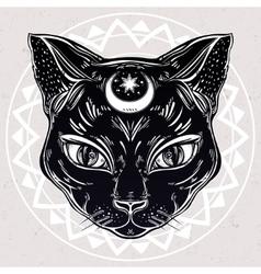 Black cat head portrait with moon vector image vector image