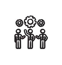 Businessmen under the gears sketch ico vector