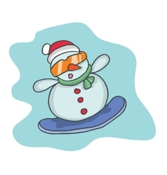 Cartoon snowman with glasses and hat vector