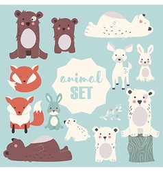 Collection of cute forest and polar animals vector image vector image
