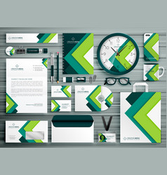 Corporate business stationery template set mockup vector