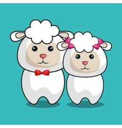 cute sheep stuffed icon vector image