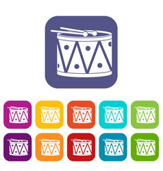 Drum and drumsticks icons set flat vector