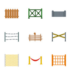 fence icons set flat style vector image vector image