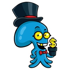 Filthy rich octopus planting money vector