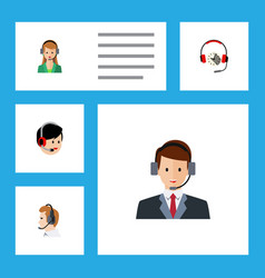 Flat hotline set of operator secretary headphone vector
