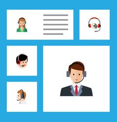 Flat hotline set of operator secretary headphone vector
