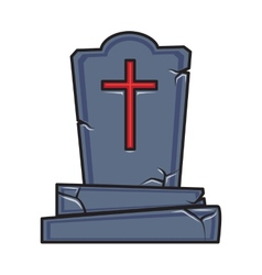 Halloween cartoon grave monument isolated on white vector image