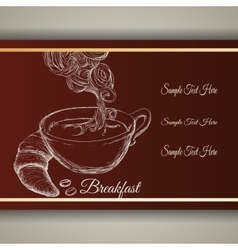 Hand drawing breakfast cup coffee bread poster vector