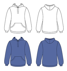 Hoodie sweater front back outlined view vector