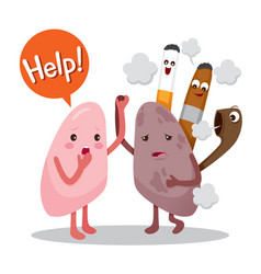 Lungs sick from smoke cartoon character human vector