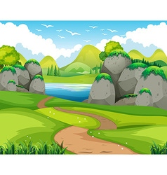 Nature scene with hiking track and lake vector image vector image