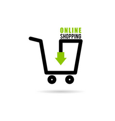 online shopping icon with basket vector image vector image