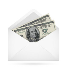 open envelope containing dollar banknotes on a vector image