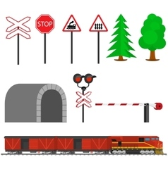 Railroad traffic way and train with boxcars vector image