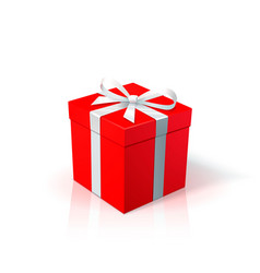 red cardboard box with white ribbon and bow gift vector image